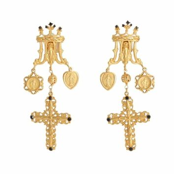 Dolce & Gabbana Gold Black Crystal Cross Earrings