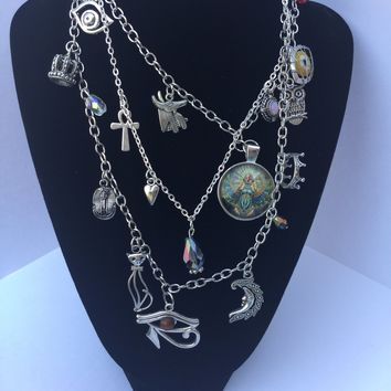 Egyptian sliver Junk statement Necklace/Free Shipping