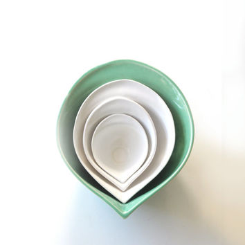 Sumba - Green & White Mixing Bowl Set