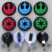Retractable Badge Holder - Fabric Covered Button - Choose a Side (Star Wars!)
