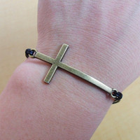 Bangle cross bracelet leather bracelet Simple bracelet women bracelet men bracelet with black leather and bronze cross  SH-2210
