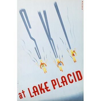 Ski at Lake Placid - Limited Edition Hand Pulled Lithograph on Paper by the RE Society