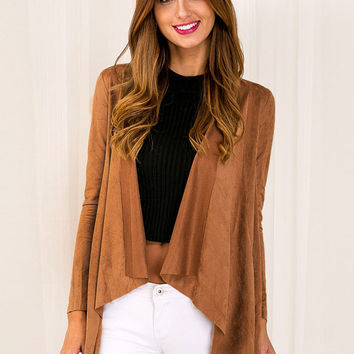 Camel Flounce Long-Sleeve Irregular Faux Suede Midi Jacket