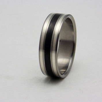 Carbon fiber and silver on Titanium ring, unique Titanium and carbon fiber wedding band
