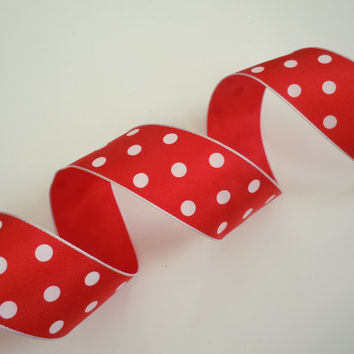 Red or Blue White Polka Dots Themed Wedding Birthday Shower Party Decoration make gift wrap ribbon bow ribbon 5yd