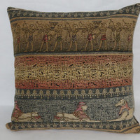 "Egyptian Hieroglyph Pillow, Chenille 18"" Sq, Blue Tan Peach, Sphynx Ancient Tomb Motifs, Zipper Cover Only Or Insert Included, Ready Ship"