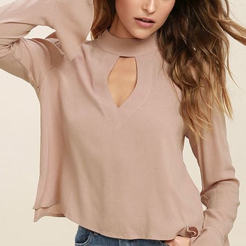 Dreamy Darling Taupe Long Sleeve Top