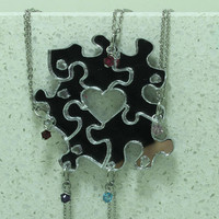 Friendship Puzzle Piece necklaces Set of 5 pendants with Crystals Silver Mirrored Acrylic