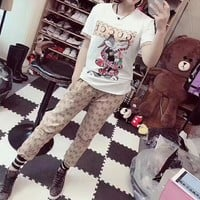 """Gucci"" Women Casual Fashion Cartoon Rabbit Snake Pattern Print Short Sleeve Trousers Set Two-Piece Sportswear"