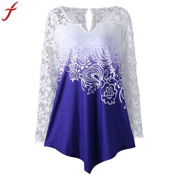 2018 New Fashion Womens Floral Printed Lace Shirt Long Sleeve Blusas Femininas Casual Ladies Blouse and Tunic Tops Women Clothes