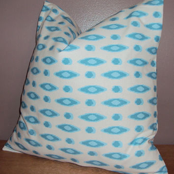 18x18 Modern Blue and White Decorative Pillow Cover - Same Fabric Both Sides