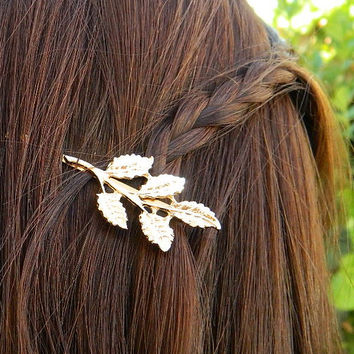 2 Gold Leaf Hair Pin Roman Style Bridal Accessory Bobby Pin Hair Clip, Vintage Brooch Pin, Wedding Bridesmaid Hair, Leaf Jewelry