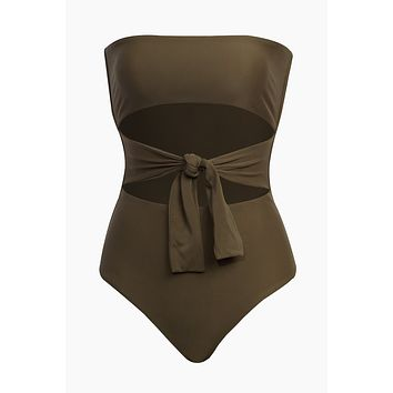 Bianca Center Front Tie One Piece Swimsuit - Army