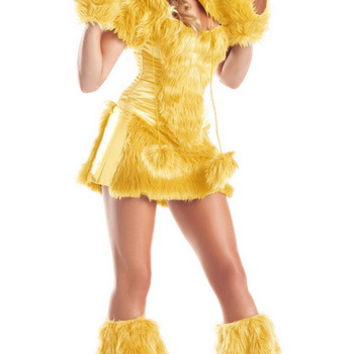 Yellow Bear Costume Corset Top With Furry