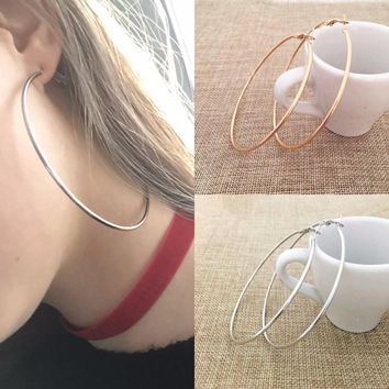 30-100MM Big Hoop Earrings Sexy Earrings Accessories Fashion Exaggerated Hoop Ear Loop Smooth Circle for Women Girl's Jewelry