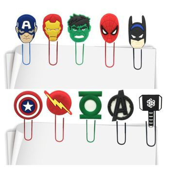 Batman Dark Knight gift Christmas 100pcs Avengers Hulk Batman Spiderman Action Figure Bookmarks for Books Paper Clips DIY Craft School Office Supplies Kids Gift AT_71_6