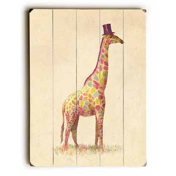 Fashionable Giraffe by Artist Terry Fan Wood Sign