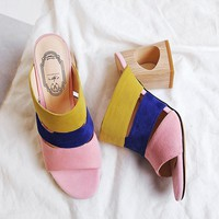 Fashion patchwork mix color flip flops hollow out heels brand shoes peep toe women slippers cut out mules high heel summer shoes