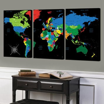 World Map Push Pin, World Map, World Map canvas, World Map wall art, Push pin canvas, World Map art, World Map decor art, World map print