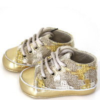 LA DOLLY by Le Petit Tom ® TWEED SNEAKERS gold/beige tweed