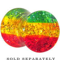 2 Gauge Red Yellow Green Acrylic Rasta Glitter Saddle Plug | Body Candy Body Jewelry