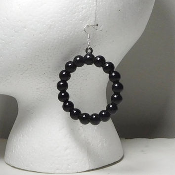 """Black Bead Hoop Earrings Large Round Sterling Silver Plated Wires for Pierced Ears Bohemian Boho Plastic Beads Lightweight Steampunk 2 1/4"""""""