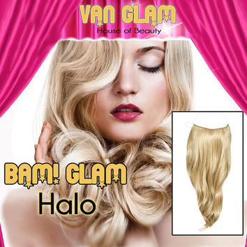 "Platinum Blonde / 22"" / Halo Type Hair Extensions / 100% Cuticle Remy"