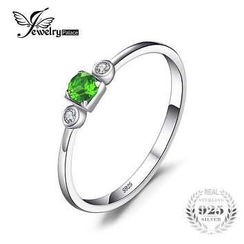 JewelryPalace 0.15ct Genuine Chrome Diopside White Topaz 3 Stone Ring 925 Sterling Silver Fashion Engagement Jewelry For Women