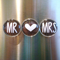 Magnet Set, Kitchen Magnets, Wedding Gift, Mr & Mrs, Set of Three Magnets, Kitchen Magnet Set, Rustic Wedding, Minimalist, Magnet