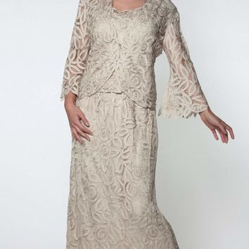 Soulmates - D7107 Hand Crochet 3/4 Bell Sleeve Three Piece Evening Gown