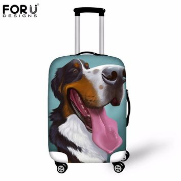 FORUDESIGNS 3D Bernese Dog Luggage Protective Cover Animal Elastic Suitcase Rain Cover For 18 20 22 24 26 28 30 Inch Travel Case