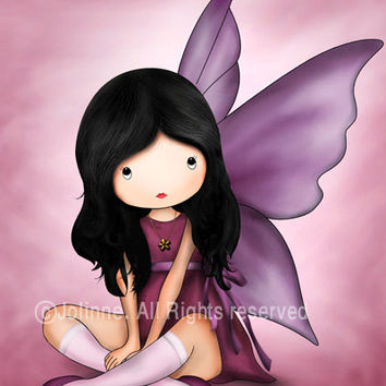 Angel art print illustration Kids wall art girls room decor fairy nursery poster, children decor