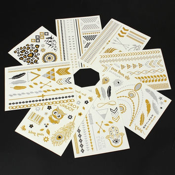 Fashion 8pcs Metallic Temporary Tattoos Flash Body Gold Silver Black Jewelry Inspired Stickers 21x15cm = 5660939521