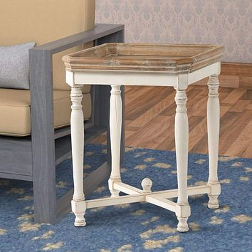 Square Shaped Wooden Side Table With Cross Base, Brown & Gray By Casagear Home