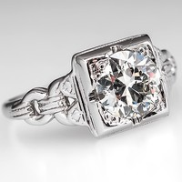 Art Deco Engagement Ring w/ Old Euro Diamond 18K White Gold Antique 1930's