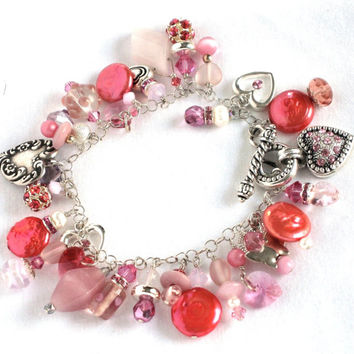 Charm Bracelet of Rosy Pink Swarovski Crystal Freshwater Pearls Sterling Silver Charms and Chain