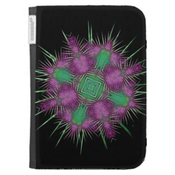 Whimsical Scottish Thistle Head Floral Design Kindle 3 Covers