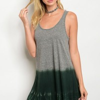 C3-A-2-D59233 GRAY DARK GREEN TIE DYE DRESS 2-2-2