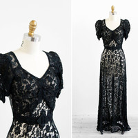 vintage 1930s dress / 30s evening gown / Black Lace Floorlength Evening Gown