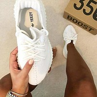 White Adidas Women Men Yeezy 350 V2 Boost 350 Sneaker Casual