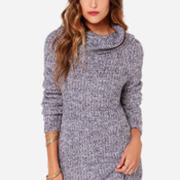 Olive & Oak Cowl Be There Navy and Lavender Sweater Dress