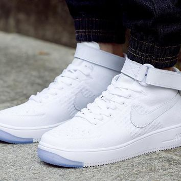 LMFON Nike Air Force 1 Flyknit Mid-High 817420-100 White For Women Men Running Sport Casual Shoes Sneakers