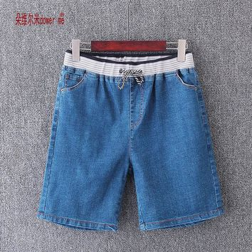 dower me Plus Size thin short 2017 Casual High Waist Shorts Women High Waisted Denim Shorts Elastic Waist Jeans Shorts