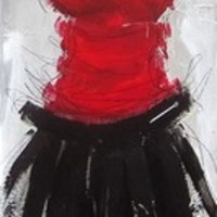 Allard Valérie Petite robe rouge et noire 1302 [Allard Valérie_A11176] - $99.00 oil painting for sale|Wonderful artwork|Buy it at once.