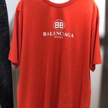 Balenciaga fashion round collar short sleeve top blouse shirt