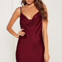 Missguided - Silky Cowl Front Cami Dress Plum