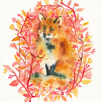 "Fox art - ""September Fox"" Limited Edition print of by amberalexander"