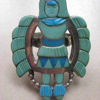 Zuni Madeline Beyuka Eagle Dancer Ring  Sterling Silver