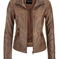 moto jacket with quilted stitching and knit ribbing