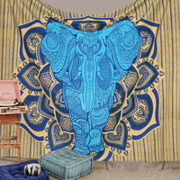 Combo Set- Elephant in Mandala Hippie Bohemian Psychedelic Intricate Gypsy Indian Magical Thinking Tapestry Inclusive of Iphone 6/6s Cover